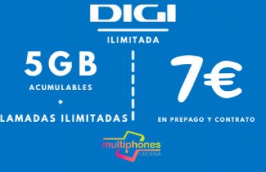 Digi ilimitado 5GB por sólo 7€/mes