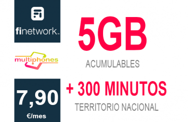 Finetwork 5Gb + 300 min. 7,90€/mes