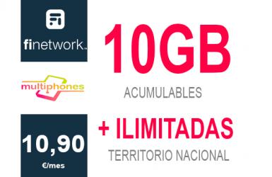 Finetwork 10Gb por sólo 10,90€/mes