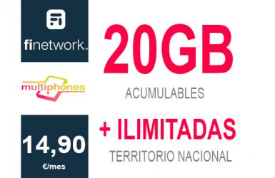 Finetwork 20Gb por sólo 14,90€/mes