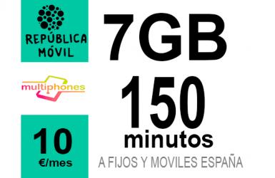 República Móvil Pequeña + 7GB 10€/mes
