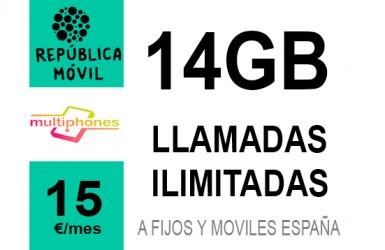 República Móvil Mediana ∞ 14GB 15€/mes