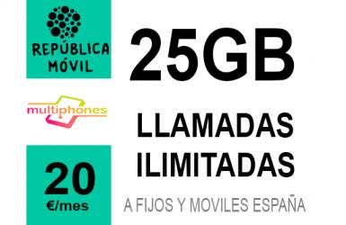 República Móvil Única ∞ 25GB 20€/mes