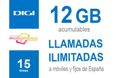 Digi Ilimitado 12GB por sólo 15€/mes