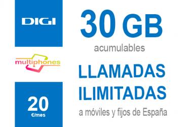 Digi Ilimitado 30GB por sólo 20€/mes
