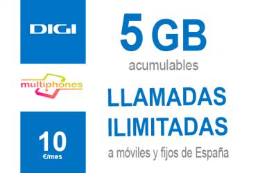 Digi Ilimitado 5GB por sólo 10€/mes