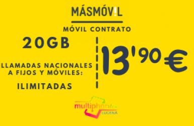 MÁSMÓVIL 20GB y llamadas ilimitadas por 13,90€/mes