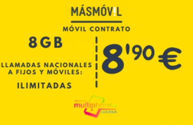 MÁSMÓVIL 8GB y llamadas ilimitadas por 8,90€/mes