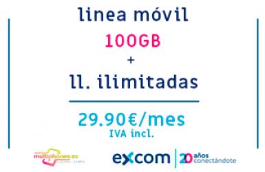 EXCOM: MÓVIL 100GB + ILIMITADAS