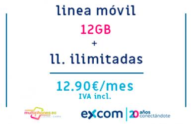 EXCOM: MÓVIL 12GB + ILIMITADAS