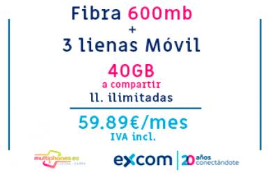 EXCOM FIBRA 600 + 3 LINEAS A COMPARTIR 40GB