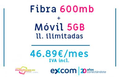 EXCOM FIBRA 600MB + MOVIL 5GB ILIMITADAS
